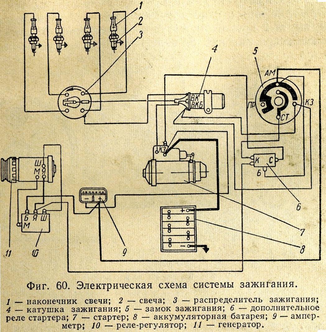 Схема установка зажигания для москвича